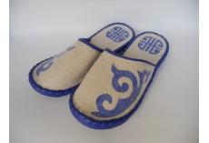 Plstěné pantofle přírodní s modrým lemováním