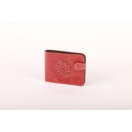 Kožená peněženka cihlově červená s raženým ornamentem