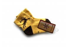 Dětské proužkované ponožky z velbloudí vlny žluté
