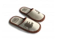 Plstěné pantofle bílé s velbloudem