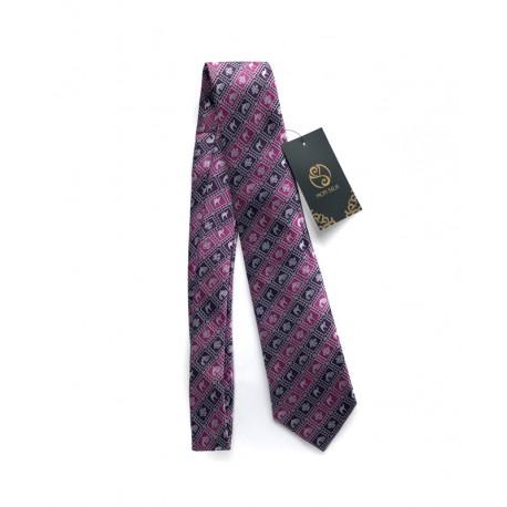 Fialovo-vínová kravata s tradičními mongolskými motivy