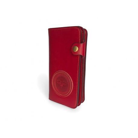Kvalitní kožená peněženka s raženým ornamentem červená