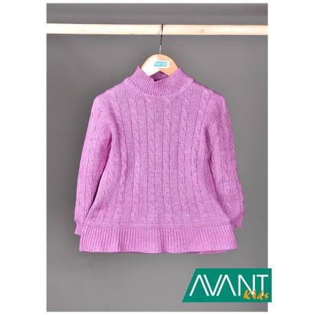 Růžový svetřík s copánkovým vzorem