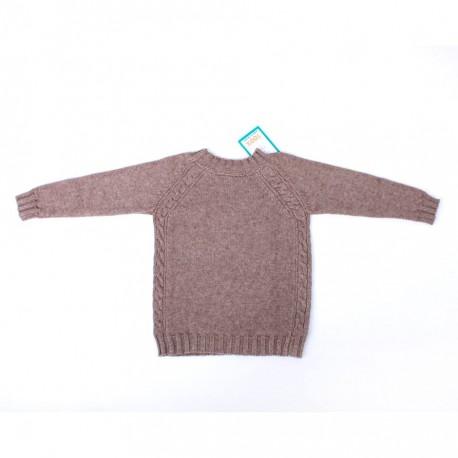 Chlapecký vlněný svetřík v přírodní hnědé barvě