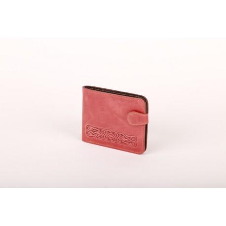 Cihlově červená kožená peněženka s raženým ornamentem
