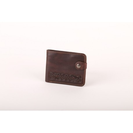 Tmavě hnědá kožená peněženka s raženým ornamentem