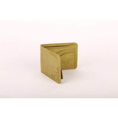 Kožená peněženka s raženým ornamentem v olivové barvě
