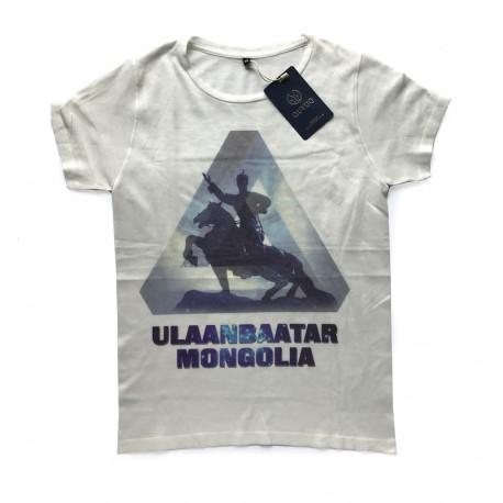 Bílé tričko s potiskem Mongolský bojovník