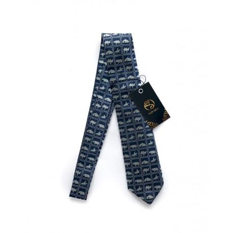 Tmavě modrá kravata s tradičními mongolskými motivy