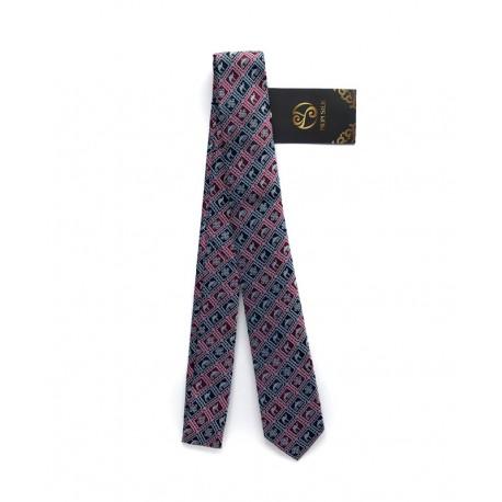 Červeno-modrá kravata s tradičními mongolskými motivy malá