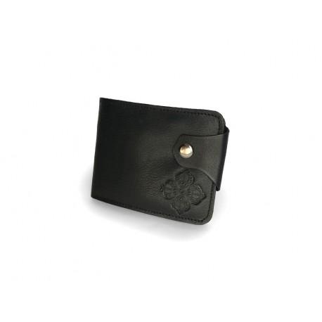 d68669c35dd Černá kožená peněženka s buddhistickým symbolem Dordže