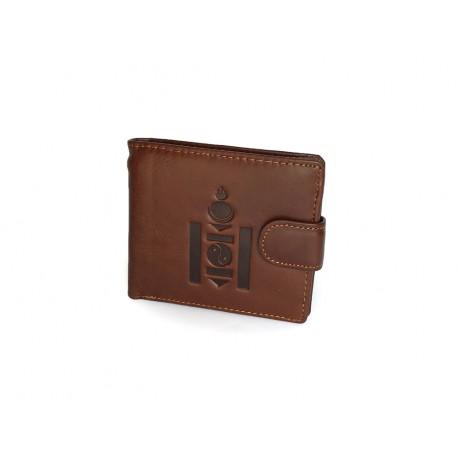 Pánská kožená peněženka s raženým budhistickým symbolem