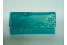 Luxusní kožená peněženka v tyrkysové barvě