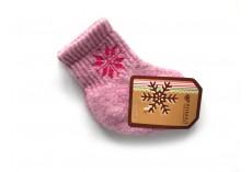 Dětské vlněné ponožky růžové s vločkou