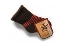 Dětské vlněné ponožky hnědé s oranžovým proužkem