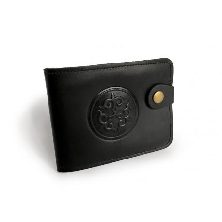 65688e3e449 Černá kožená peněženka s buddhistickým symbolem