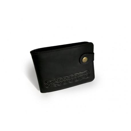 Černá pánská kožená peněženka Ornament podlouhlý
