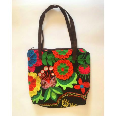 Hnědá taška s kazašskou výšivkou oranžový květ