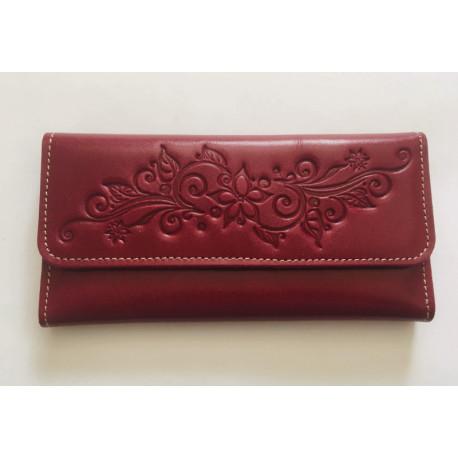 Luxusní kožená peněženka v malinové barvě