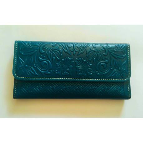 Luxusní kožená peněženka petrolejová