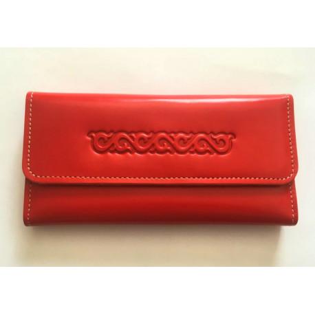 Luxusní kožená peněženka rudá