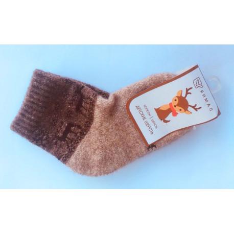 Dětské ponožky z jačí vlny šedohnědé s obrázkem
