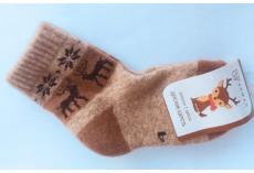 Dětské ponožky z jačí vlny béžové s obrázkem