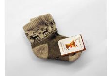 Dětské ponožky z jačí vlny šedohnědé se soby