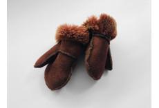 Dětské kožešinové palčáky hnědočervené (0-1rok)