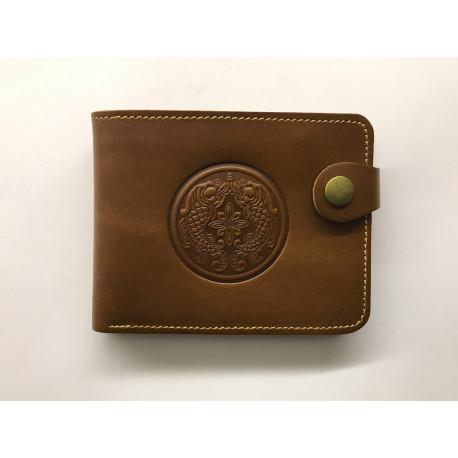 Pánská kožená peněženka s raženým ornamentem Zlaté ryby hnědá světlejší