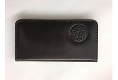 Jednoduchá kožená peněženka s raženým ornamentem tmavě hnědá