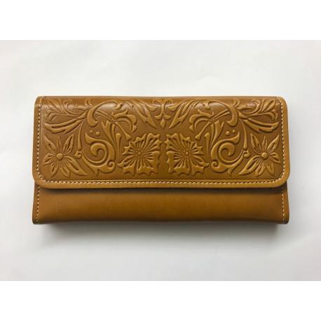 Kvalitní kožená peněženka oranžovo hnědá s florálními motivy